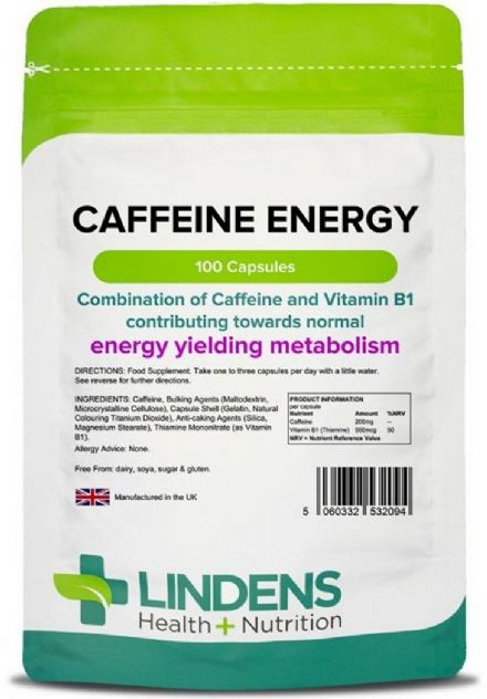 Caffeine Energy 200mg x 100 Capsules (With Vitamin B1); Lindens